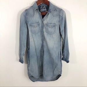 Gap Chambray Jean Dress Snap Button Up Xs